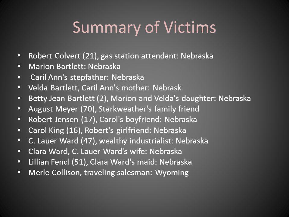 Summary of Victims Robert Colvert (21), gas station attendant: Nebraska. Marion Bartlett: Nebraska.