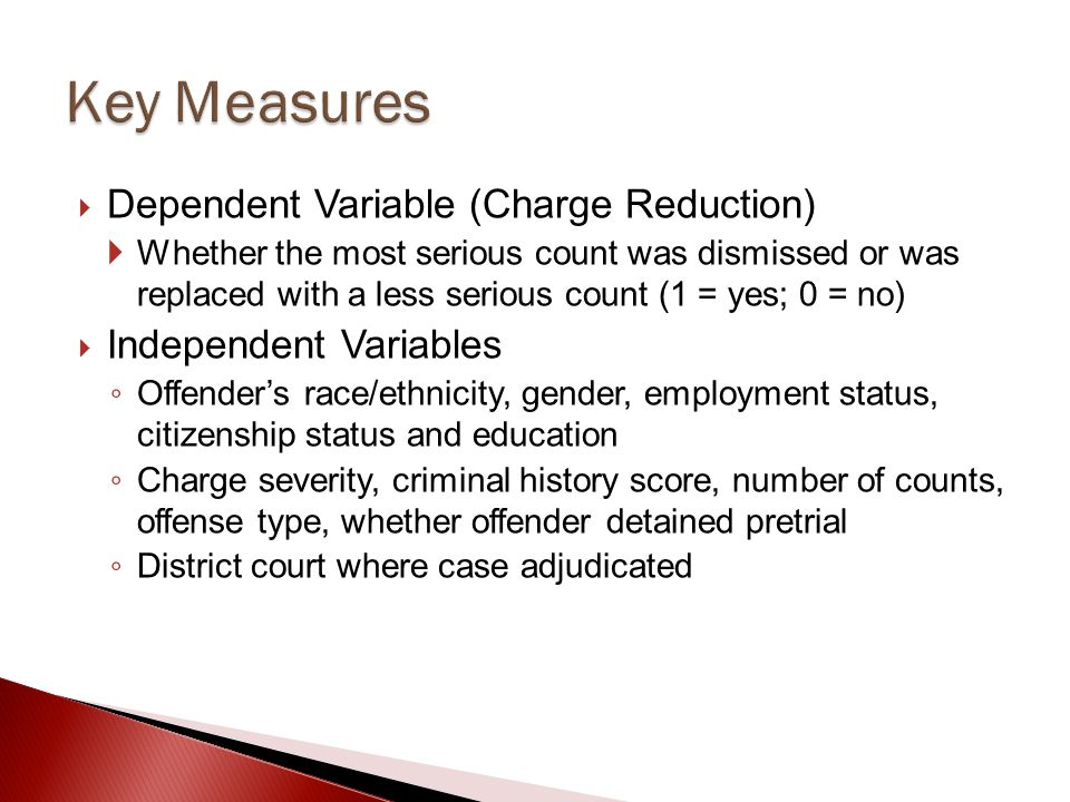 Key Measures Dependent Variable (Charge Reduction)