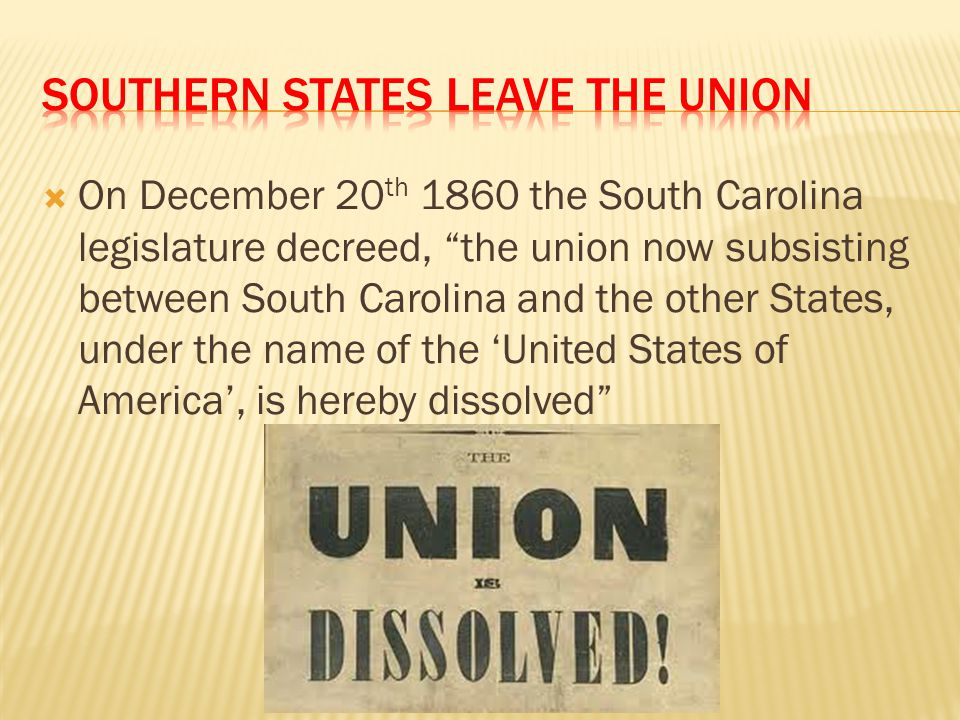 Southern States leave the Union