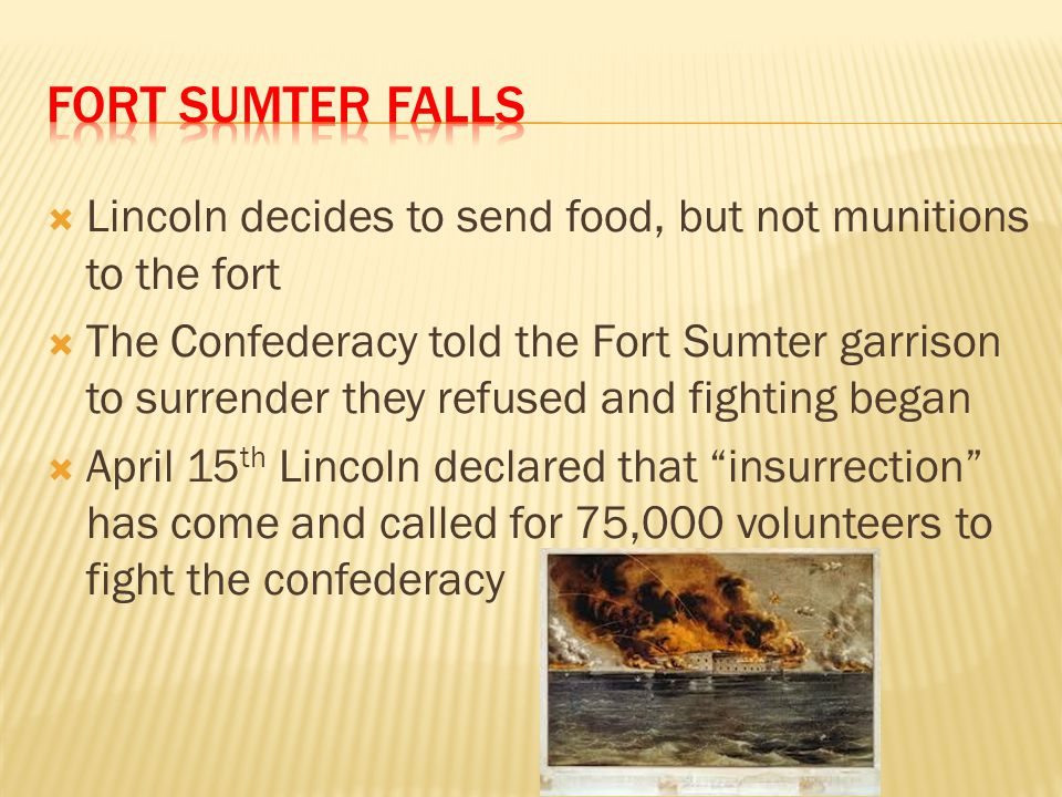Fort Sumter Falls Lincoln decides to send food, but not munitions to the fort.