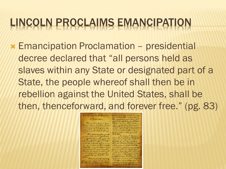 Lincoln Proclaims Emancipation
