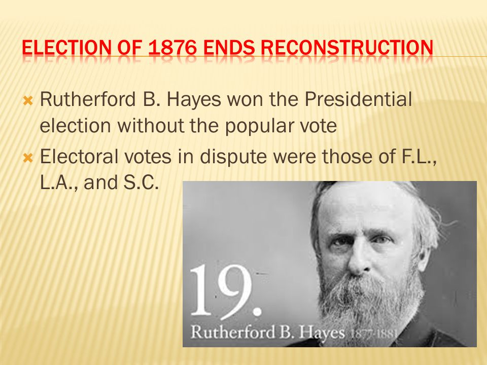 Election of 1876 ends reconstruction