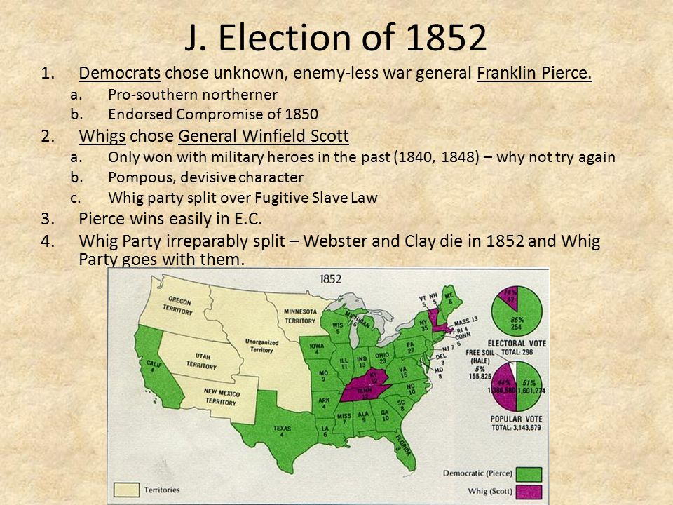 J. Election of 1852 Democrats chose unknown, enemy-less war general Franklin Pierce. Pro-southern northerner.