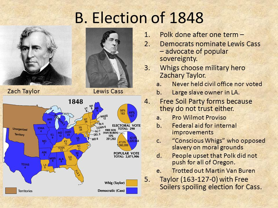 B. Election of 1848 Polk done after one term –