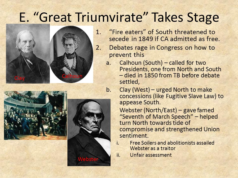 E. Great Triumvirate Takes Stage