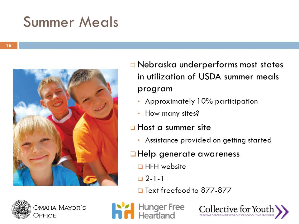 Summer Meals Nebraska underperforms most states in utilization of USDA summer meals program. Approximately 10% participation.