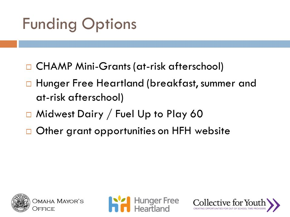 Funding Options CHAMP Mini-Grants (at-risk afterschool)