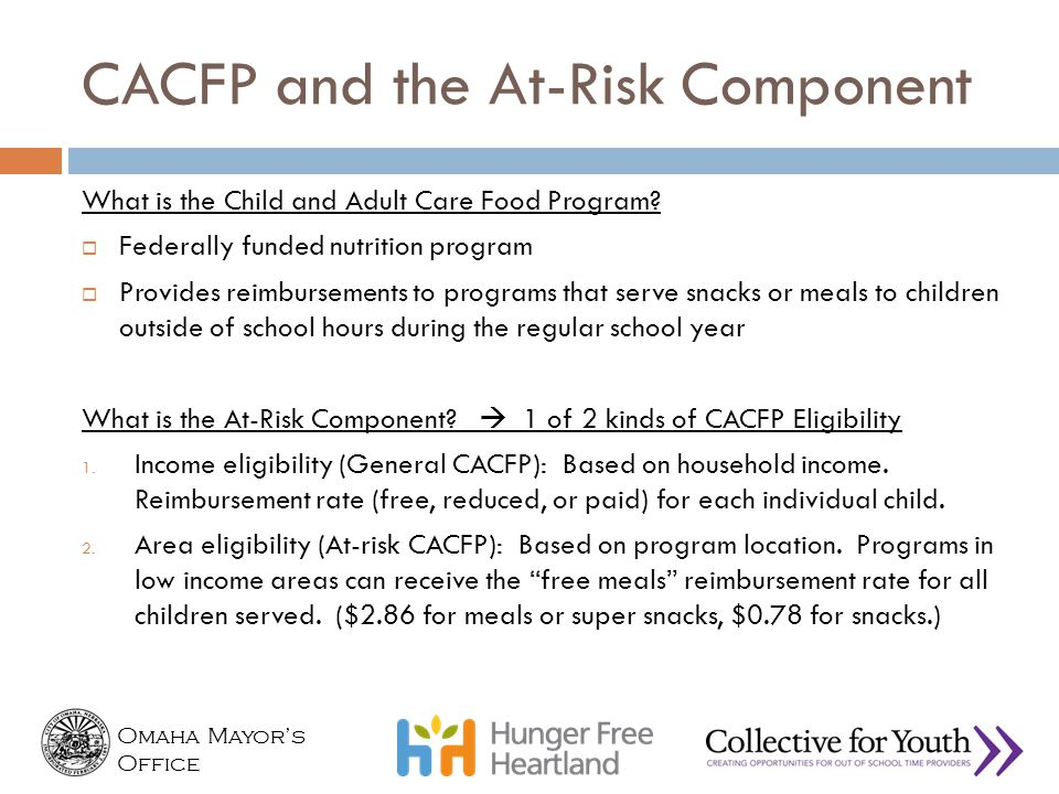 CACFP and the At-Risk Component