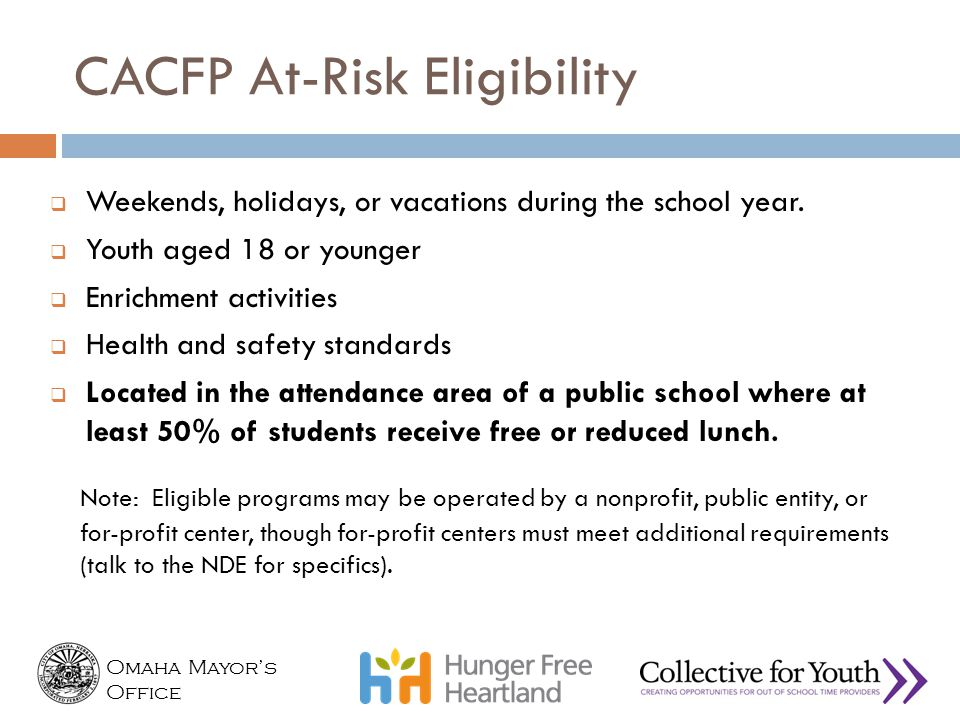 CACFP At-Risk Eligibility