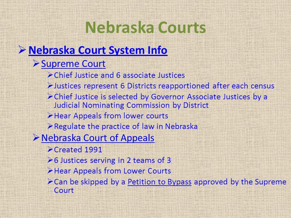 Nebraska Courts Nebraska Court System Info Supreme Court