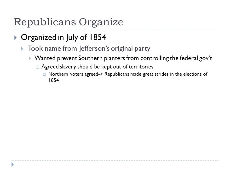 Republicans Organize Organized in July of 1854