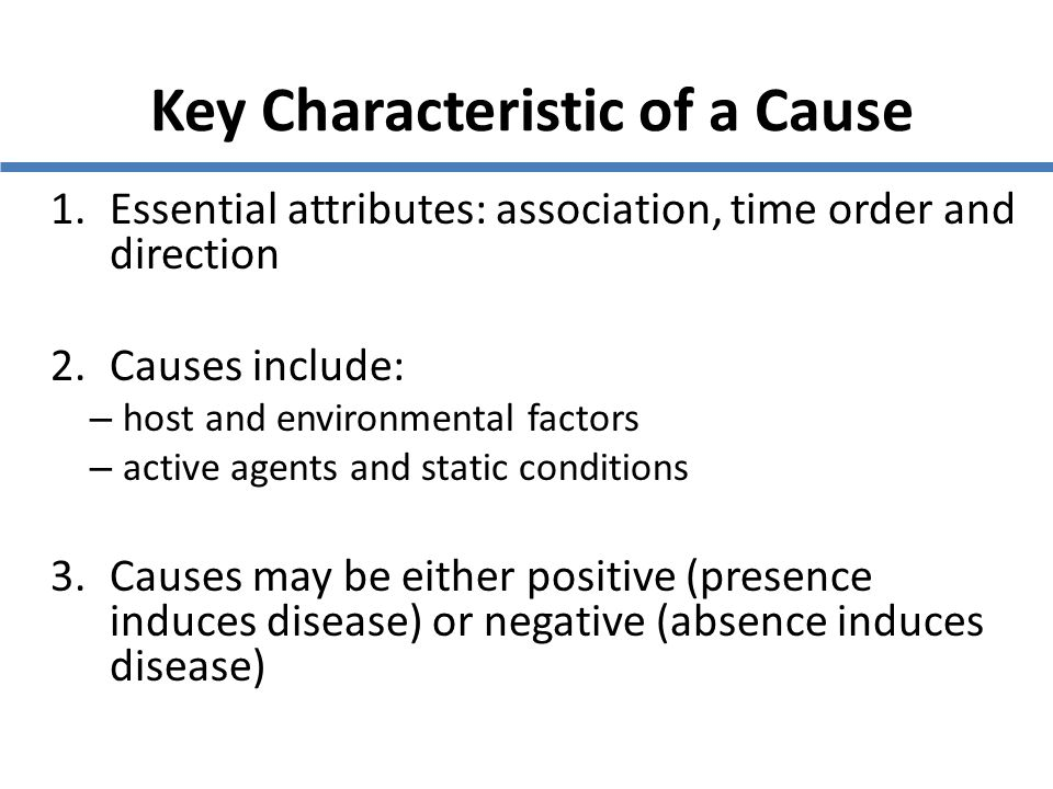 Key Characteristic of a Cause