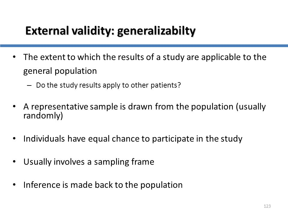 External validity: generalizabilty