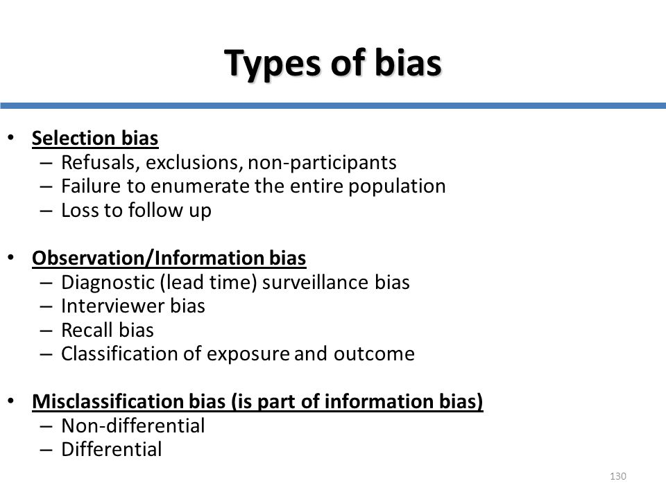 Types of bias Selection bias Refusals, exclusions, non-participants