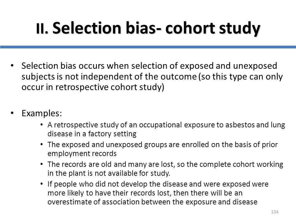 II. Selection bias- cohort study