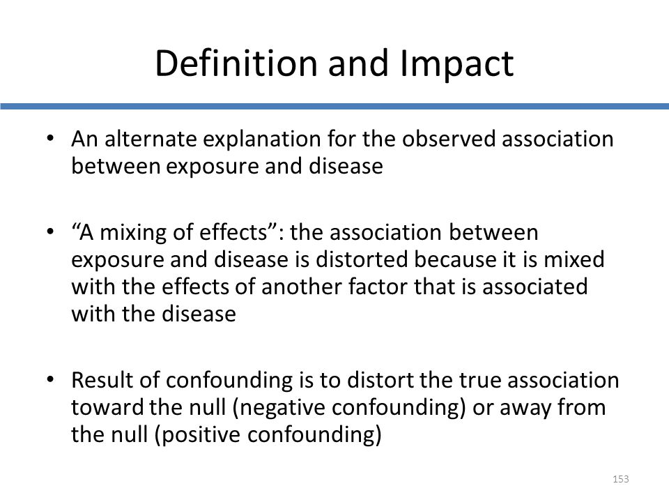 Definition and Impact An alternate explanation for the observed association between exposure and disease.