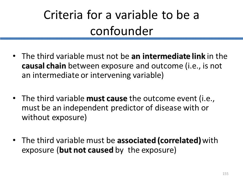 Criteria for a variable to be a confounder