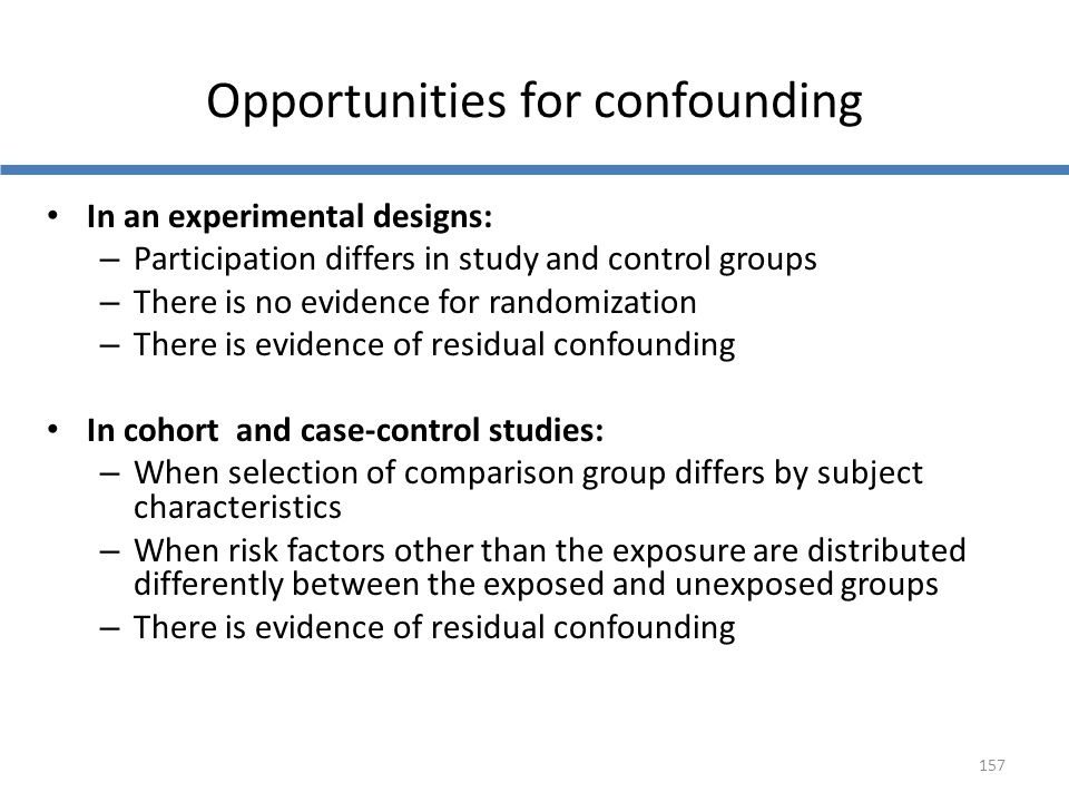Opportunities for confounding