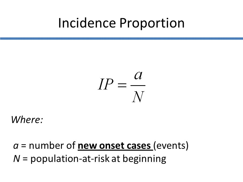 Incidence Proportion Where: a = number of new onset cases (events)