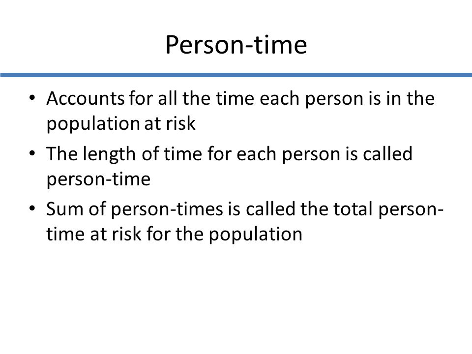 Person-time Accounts for all the time each person is in the population at risk. The length of time for each person is called person-time.