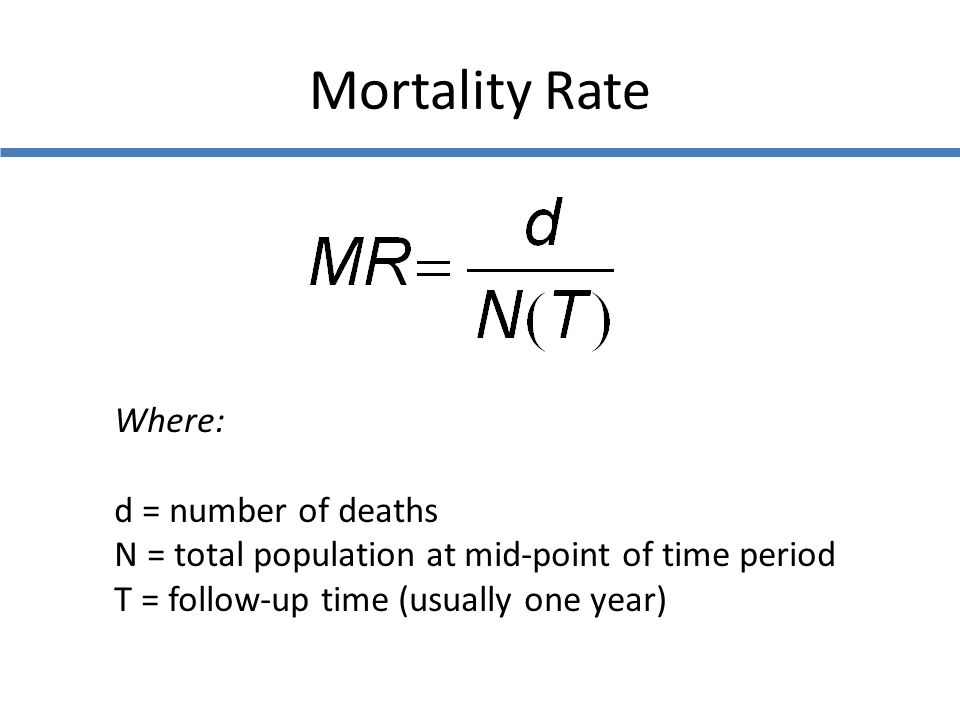 Mortality Rate Where: d = number of deaths