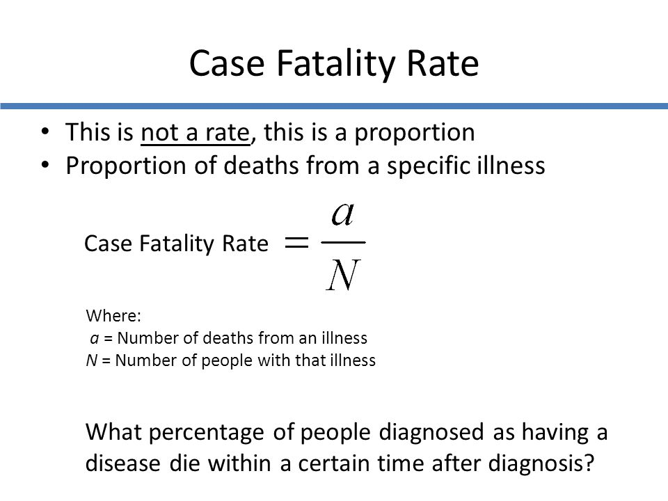 Case Fatality Rate This is not a rate, this is a proportion