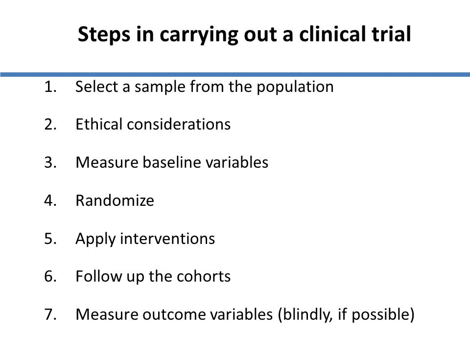 Steps in carrying out a clinical trial