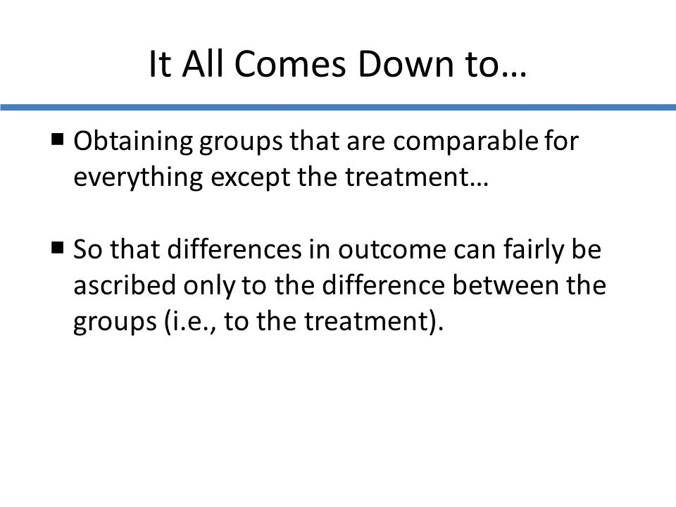 It All Comes Down to… Obtaining groups that are comparable for everything except the treatment…