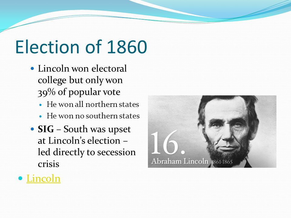 Election of 1860 Lincoln won electoral college but only won 39% of popular vote. He won all northern states.
