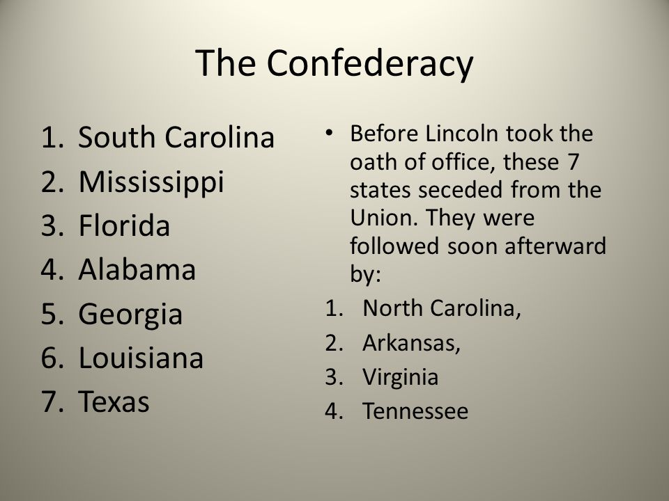 The Confederacy South Carolina Mississippi Florida Alabama Georgia