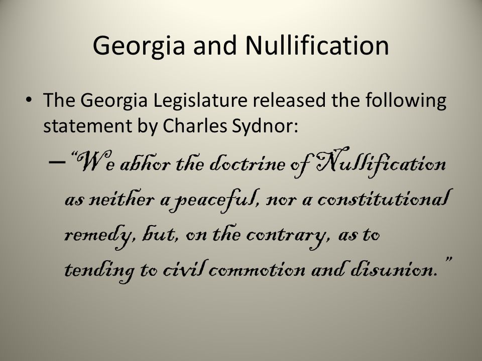 Georgia and Nullification
