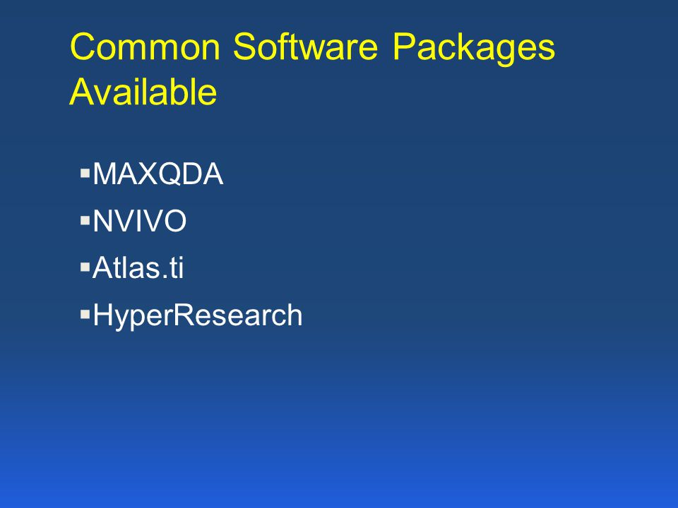 Common Software Packages Available
