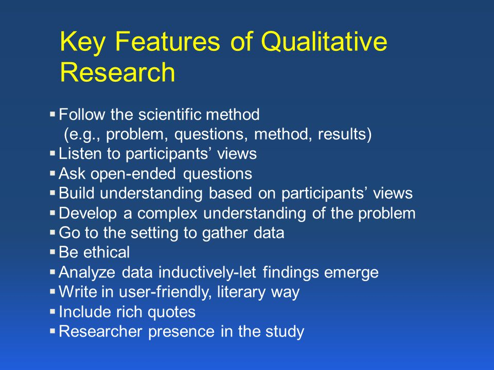 Key features of quantitative research