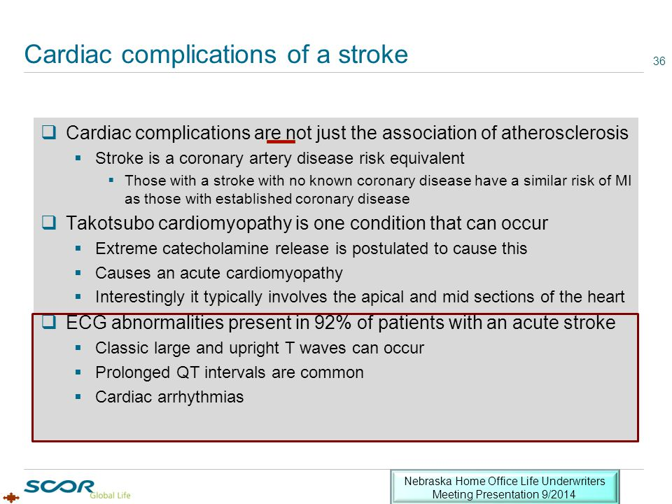 Cardiac complications of a stroke