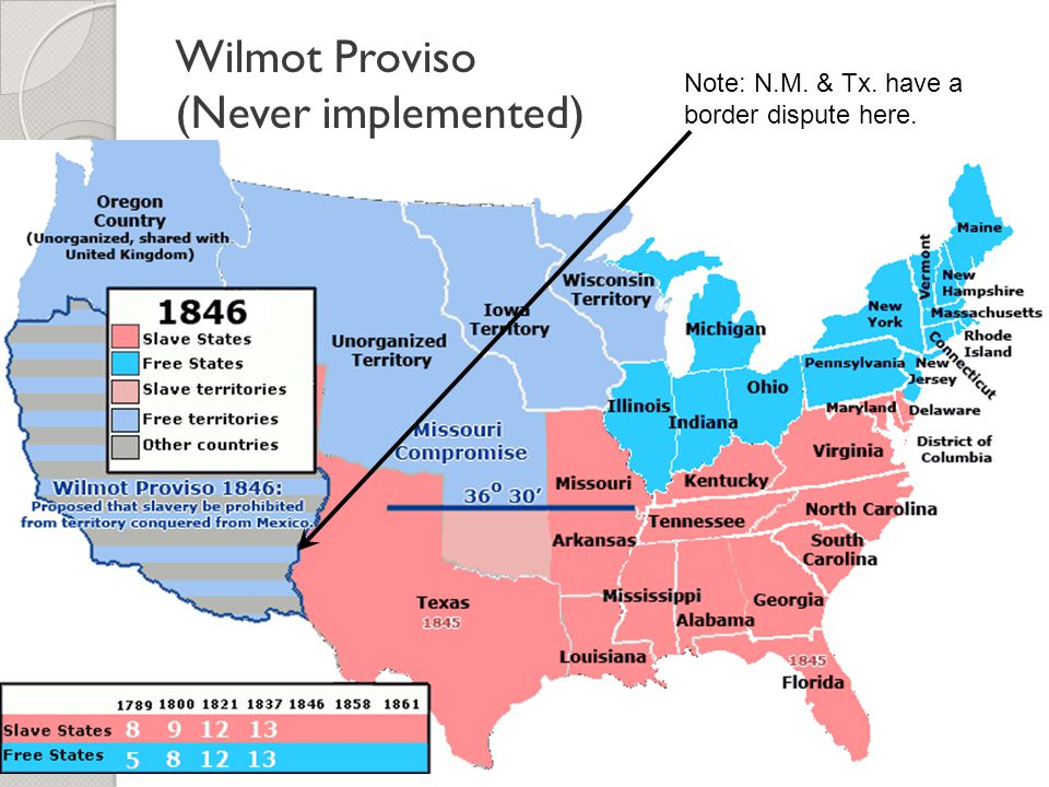 Wilmot Proviso (Never implemented)