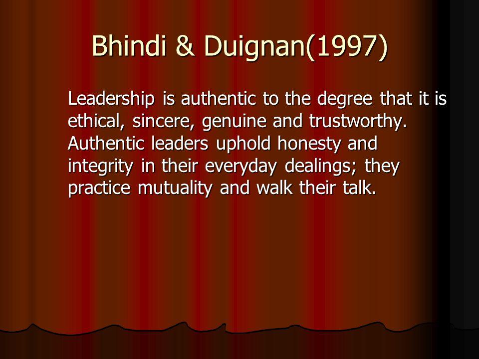 Bhindi & Duignan(1997)