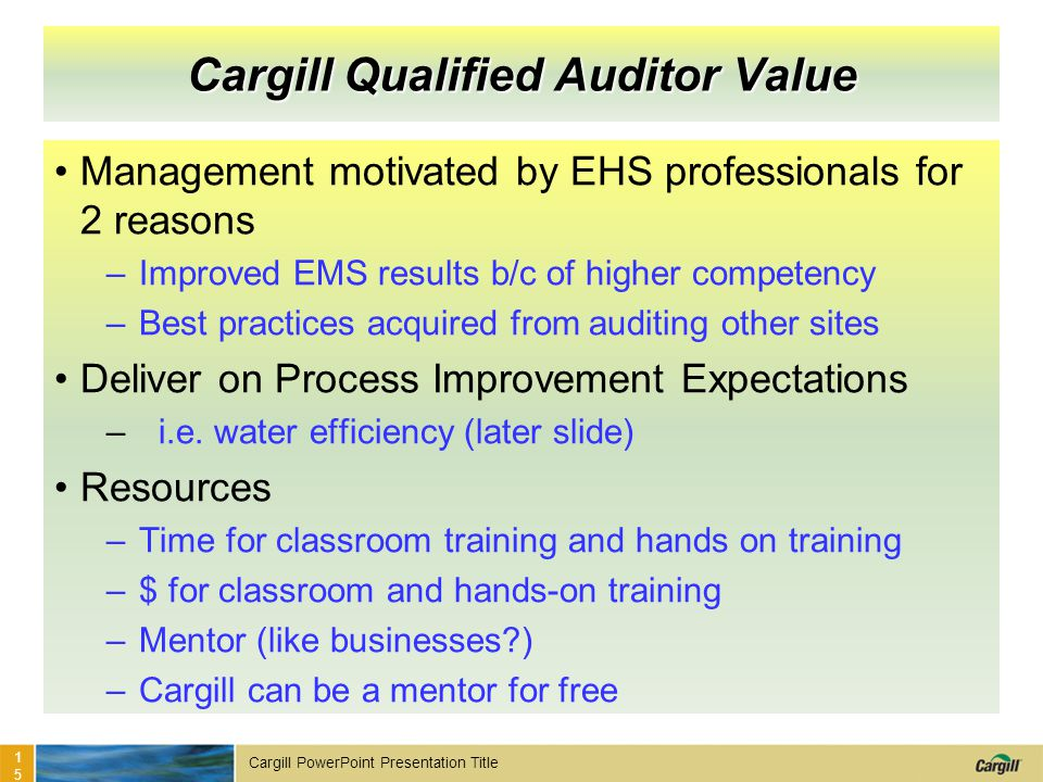 Cargill Qualified Auditor Value