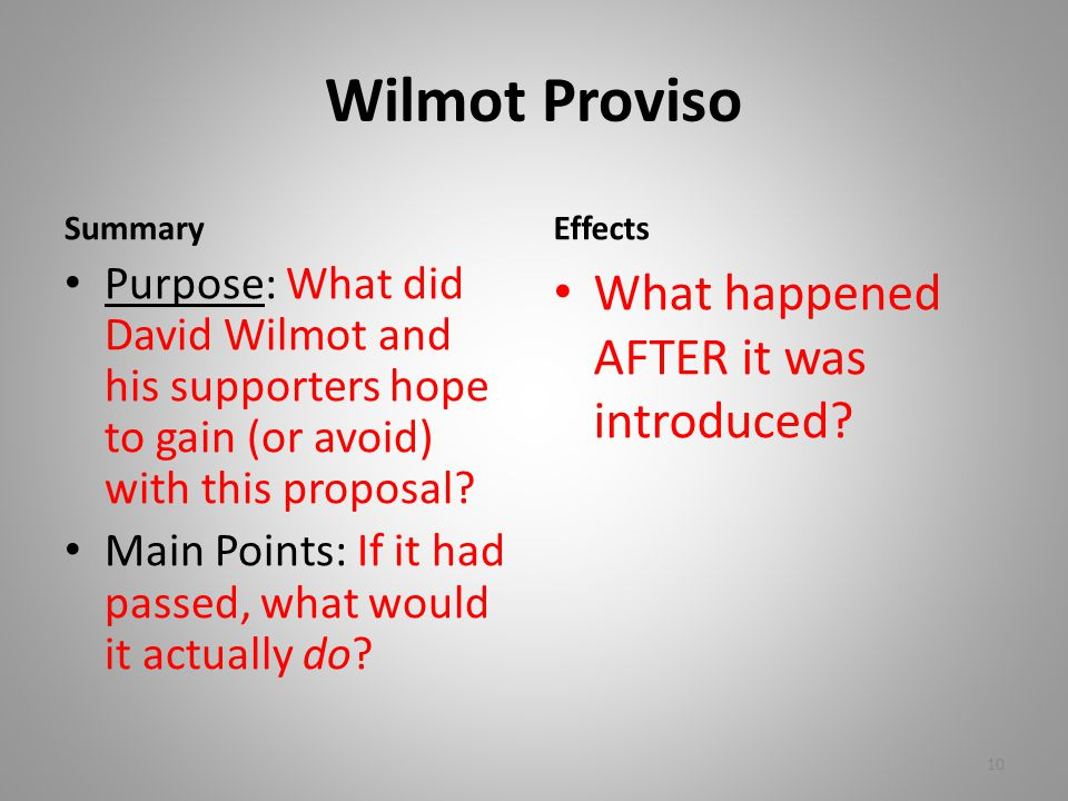 Wilmot Proviso What happened AFTER it was introduced