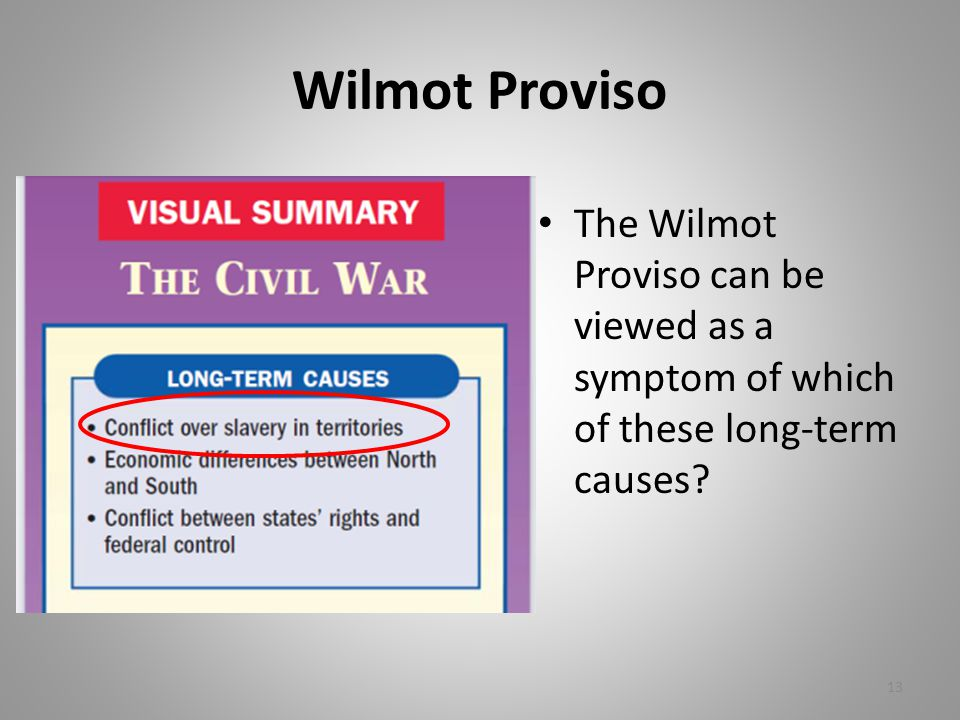 Wilmot Proviso The Wilmot Proviso can be viewed as a symptom of which of these long-term causes