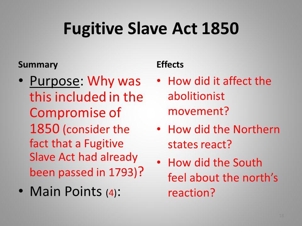 Fugitive Slave Act 1850 Summary. Effects.