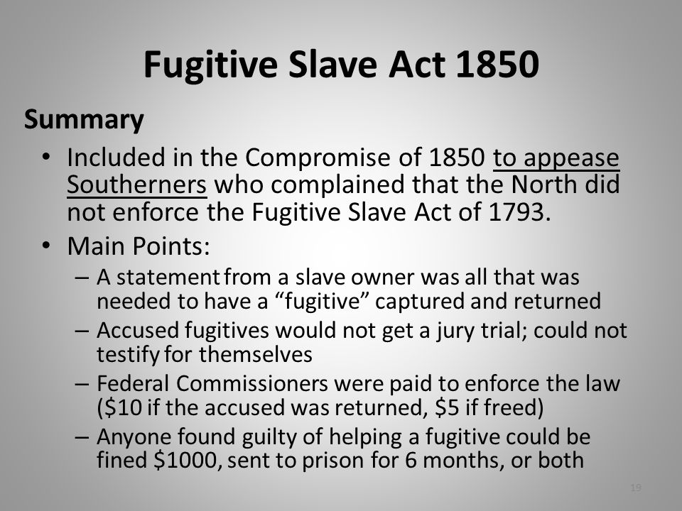 Fugitive Slave Act 1850 Summary