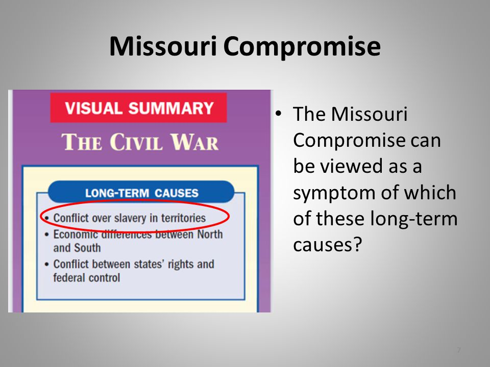 Missouri Compromise The Missouri Compromise can be viewed as a symptom of which of these long-term causes