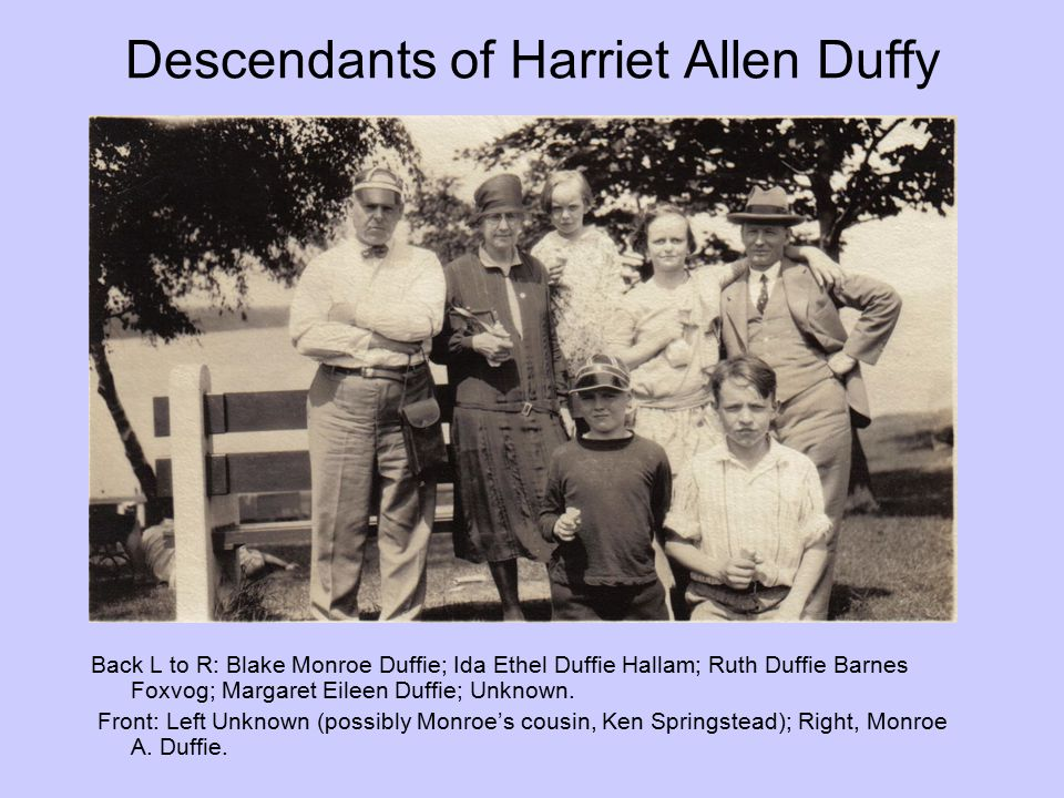 Descendants of Harriet Allen Duffy