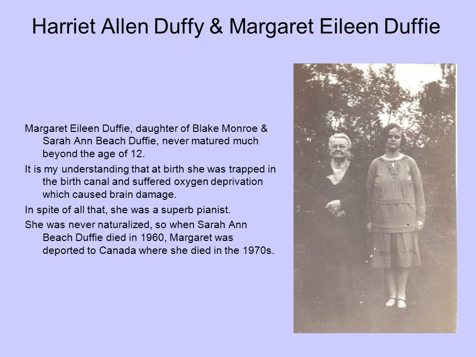 Harriet Allen Duffy & Margaret Eileen Duffie
