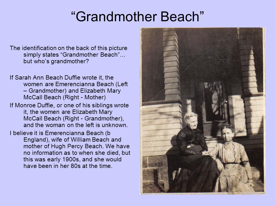 Grandmother Beach The identification on the back of this picture simply states Grandmother Beach … but who's grandmother