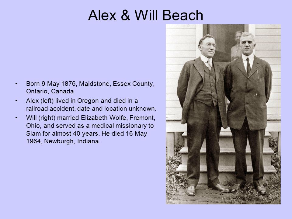Alex & Will Beach Born 9 May 1876, Maidstone, Essex County, Ontario, Canada.