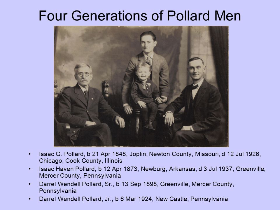 Four Generations of Pollard Men