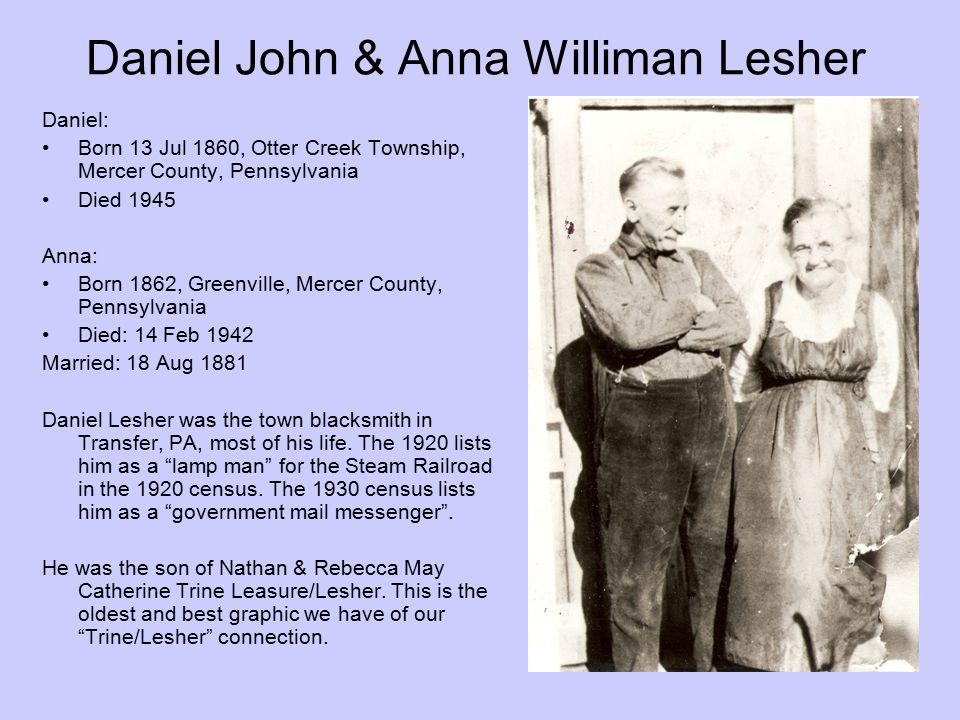 Daniel John & Anna Williman Lesher