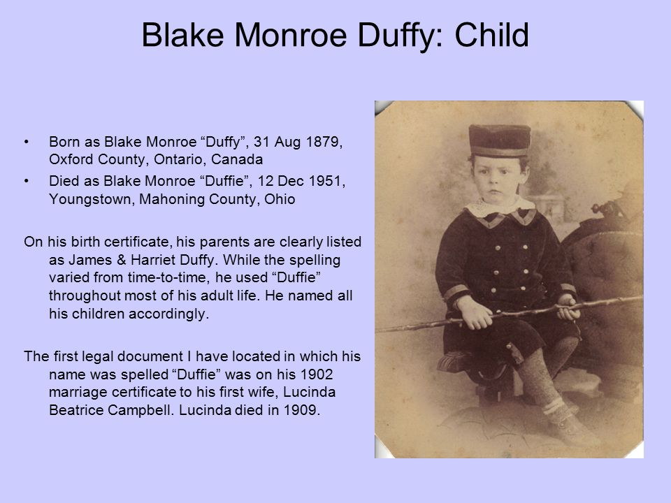 Blake Monroe Duffy: Child