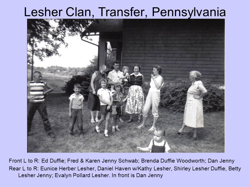 Lesher Clan, Transfer, Pennsylvania